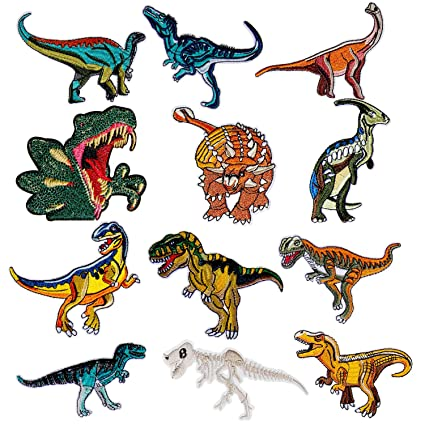 Patch Sticker - Comius 12 Pcs Dinosaur Apliques, Parches Ropa Termoadhesivos, Cute DIY Ropa