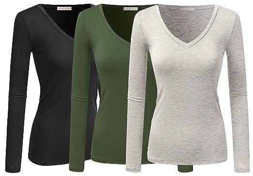 5b13a4842b3e8e Active Women Basic Solid Plain V-Neck Casual Long Sleeve T Shirt Top ...