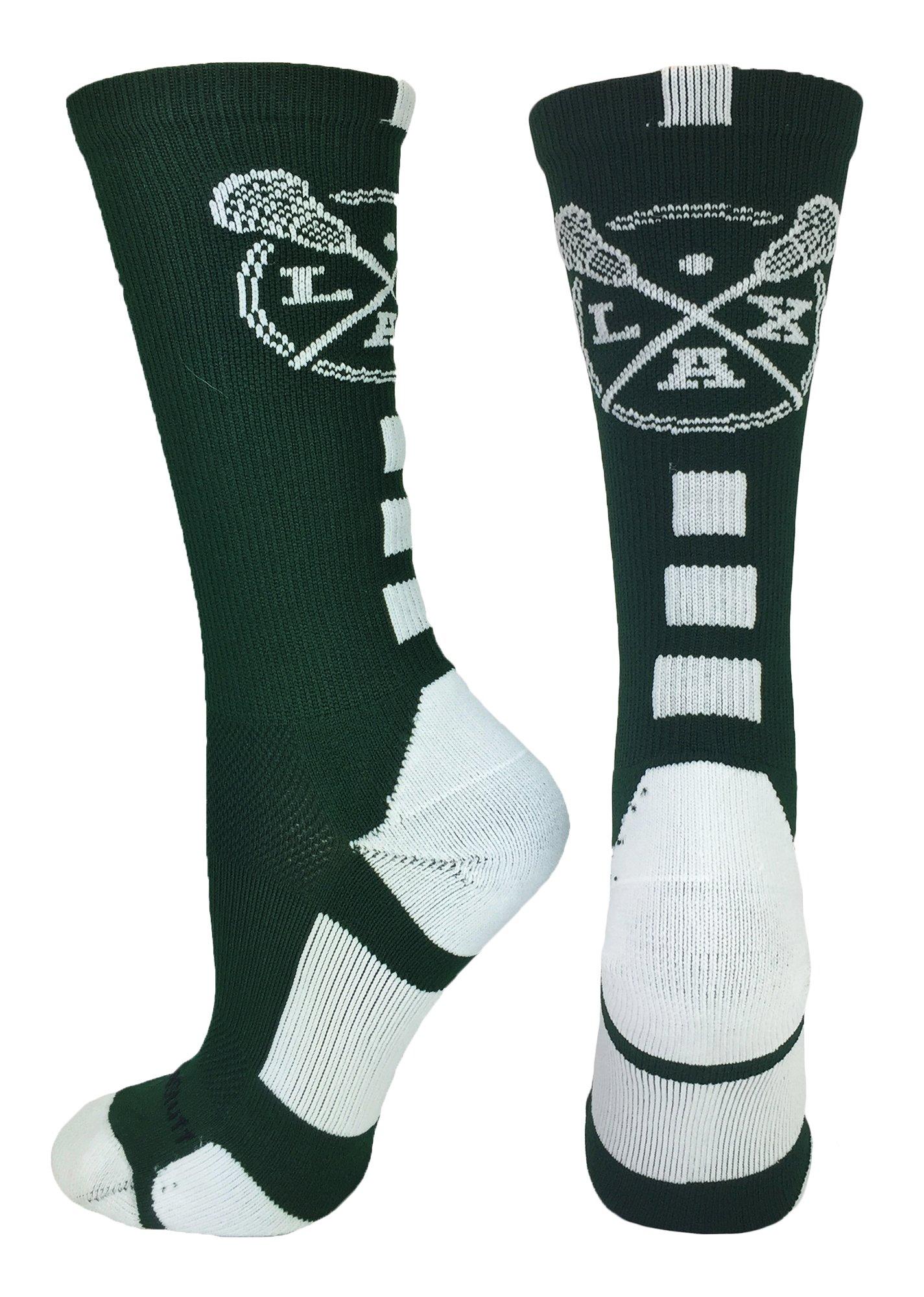 MadSportsStuff LAX Lacrosse Socks with Lacrosse Sticks Athletic Crew Socks (Dark Green/White, Small) by MadSportsStuff