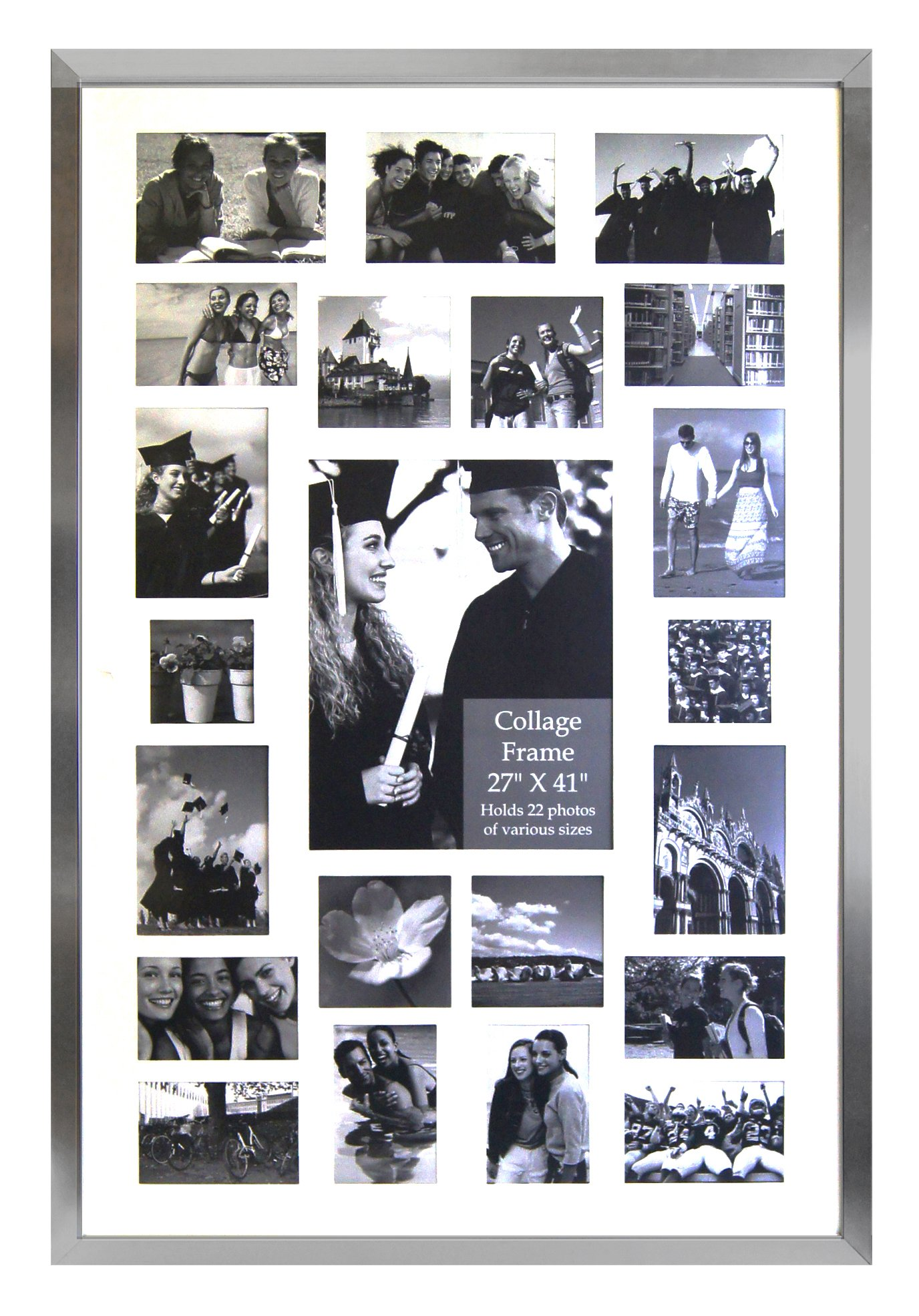 Studio 500 27 by 41-Inch Modern Picture Frame Collection, Contemporary Picture Frame (EPF305), Collage Frame Hangs, Holds 22 Images Openings, Comes in Various (Silver)