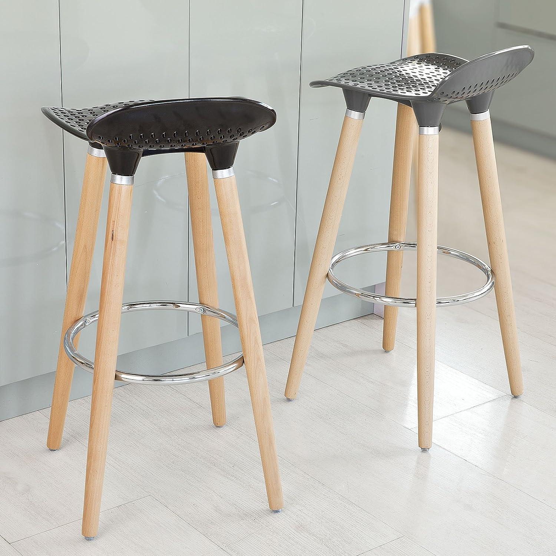 Sobuy 2x fst35 hg lot de 2 tabourets de bar cuisine avec repose pieds haute qualit gris - Repose livre cuisine ...