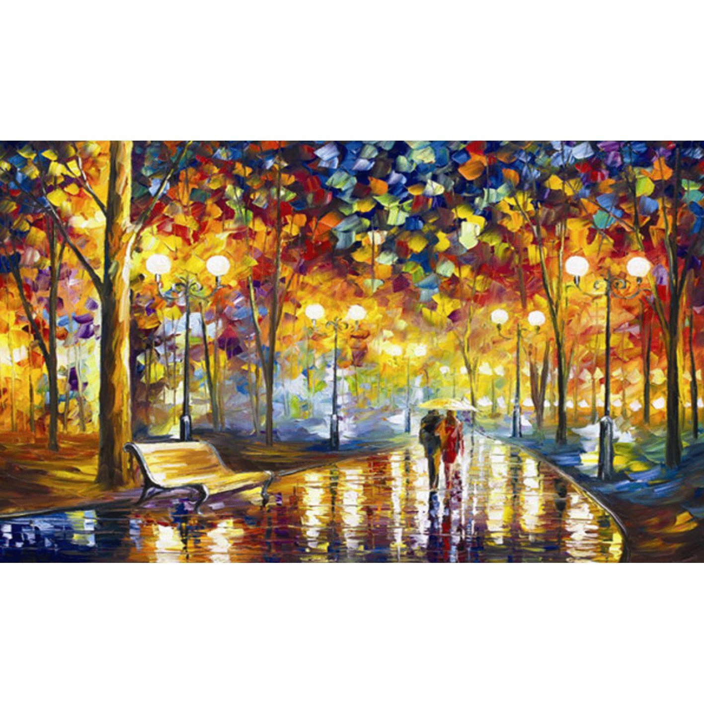 Kisstaker DIY 5D Diamond Sticker Cross Stitch Painting Kits Arts Crafts Rainy Night 42x50cm(16.5x19.5