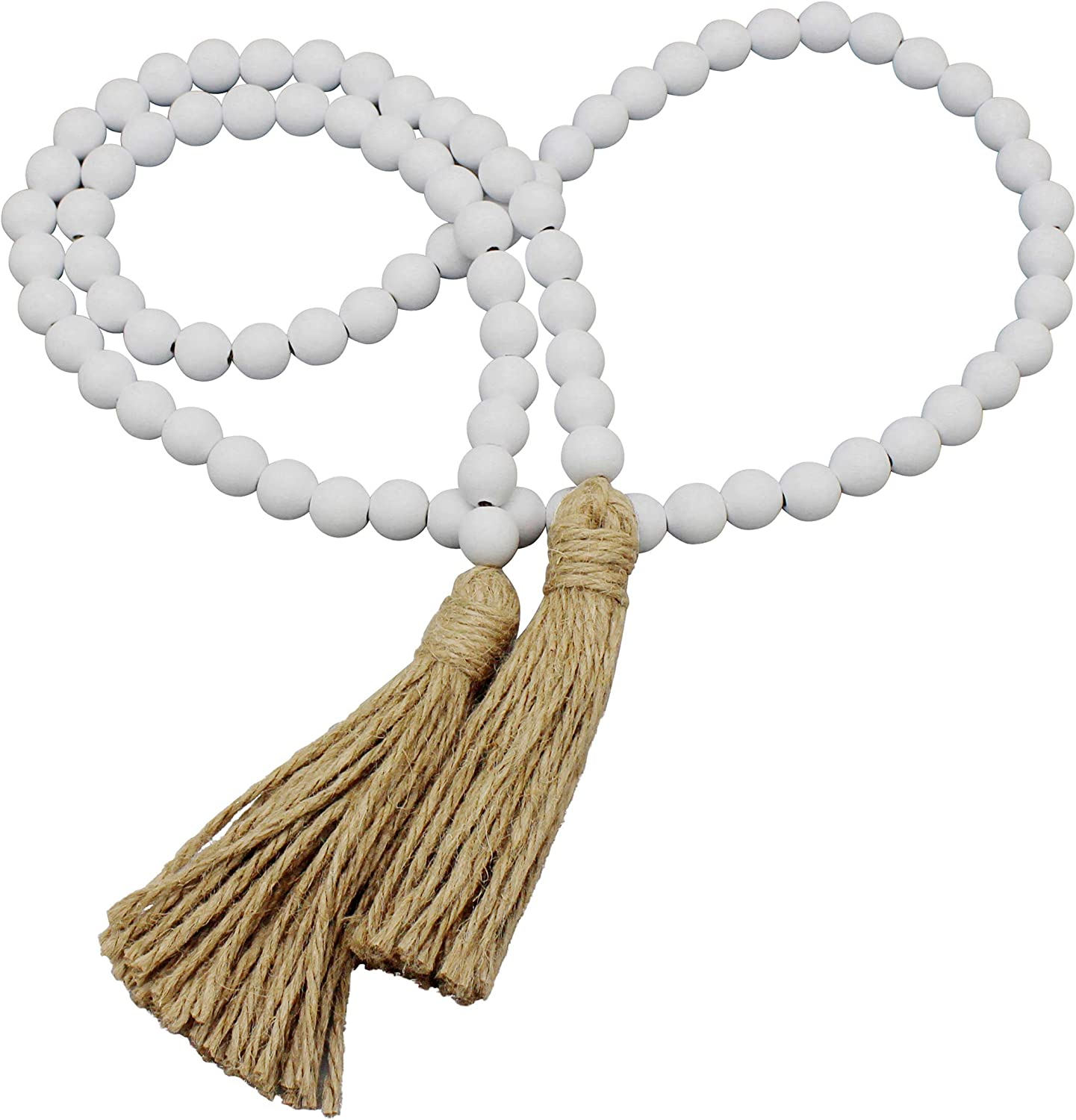 CVHOMEDECO. Wood Beads Garland with Tassels Farmhouse Rustic Wooden Prayer Bead String Wall Hanging Accent for Home Festival Decor. White