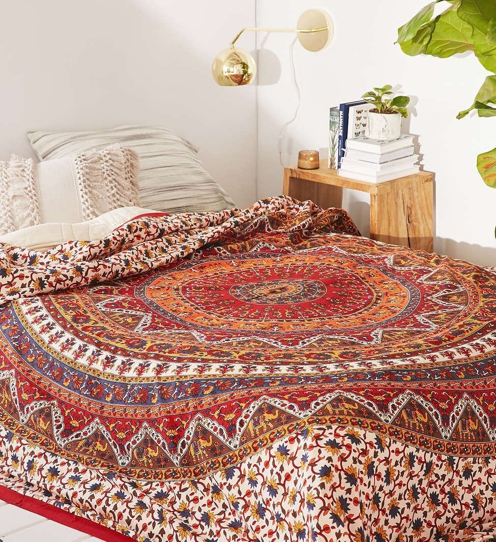 Popular Handicrafts Mandala Bohemian Psychedelic Intricate Floral Design Kerala Tapestry Magical Thinking Tapestry Indian Bedspread Tapestry 54x84 Inches,(140cmsx215cms) Red by Popular Handicrafts