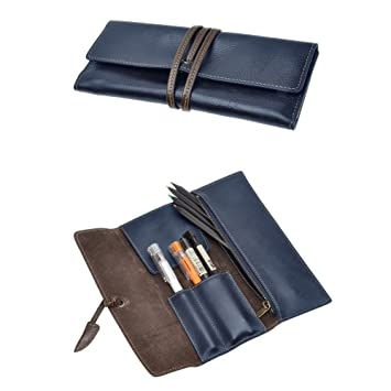 HGJ03 Pencil Case Handmade Genuine Leather Stationery Pencil Roll Pouch//Pen Case Holder Organizer Soft Wrap Bag With Strap Gift For Writer,Students And Artist