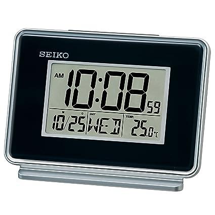 Seiko negro termómetro y alarma diaria escritorio madera de reloj QHL068K