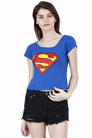 4c6596c58 Fashion Fakir Women's Superman Logo Printed Crop Top , Women's Crop Top  (Large)-
