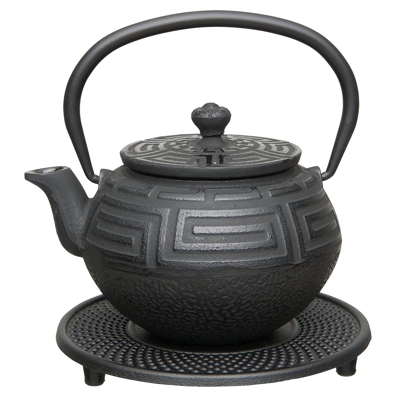 BergHOFF Studio Japanese-Style Teapot/Trivet and Tea Bowl, Cast Iron, Black, 350 ml, 29.1 x 25.7 x 29.1 cm 1107218