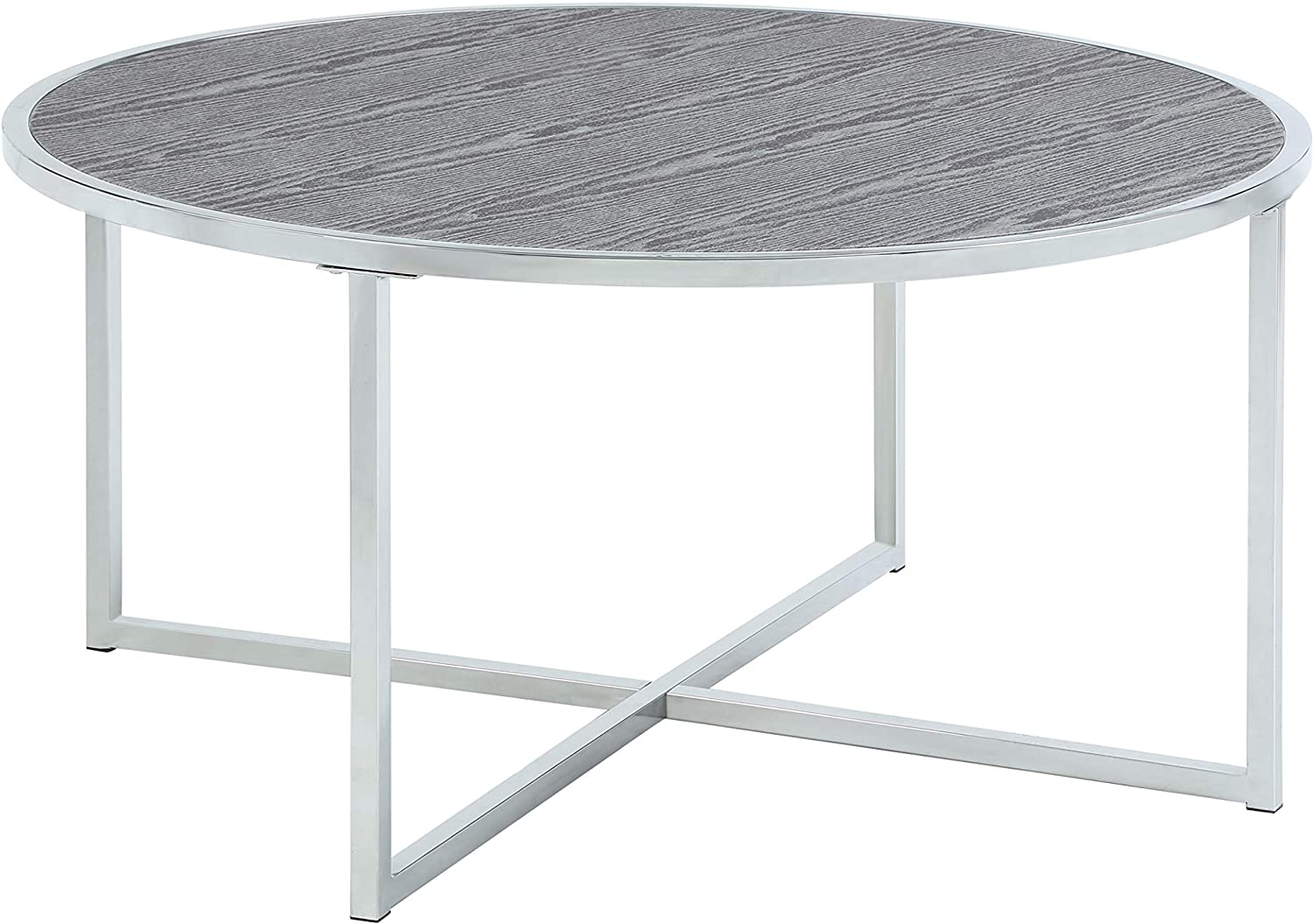 Abington Lane - Contemporary Circlular Coffee Table - Fashionable Chrome Cocktail, Sofa, Office Table for Living Room and Office - (Heathered Grey)