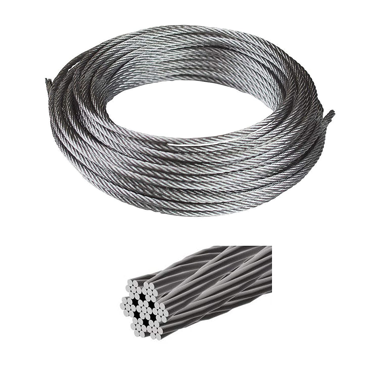 50 ft T-304 Grade 7 x 19 Stainless Steel Cable Wire Rope 3//16