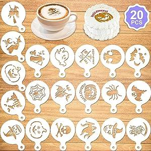 Konsait 20Pack Halloween Cake Stencil Templates Decoration, Reusable Halloween Cake Cookies Baking Painting Mold Tools, Dessert, Coffee Decorating Molds