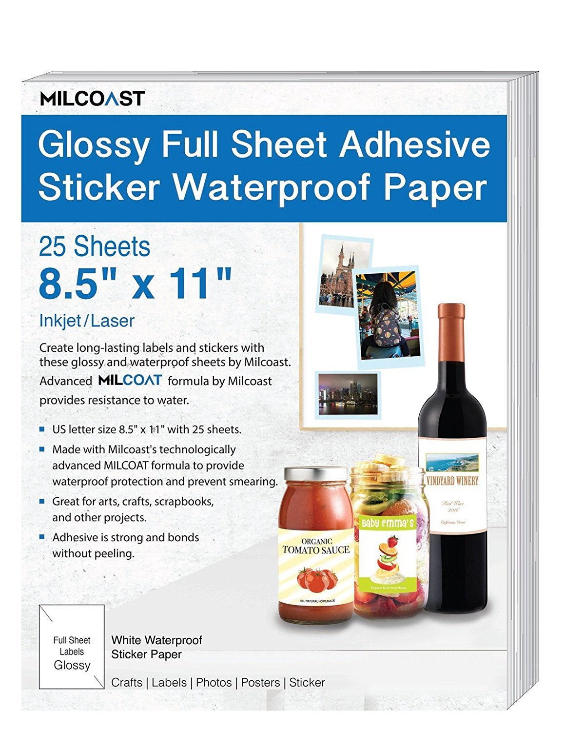 Milcoast Glossy Full Sheet 8.5'' x 11'' Adhesive Waterproof Photo Craft Paper - Works with Inkjet/Laser Printers - for Stickers, Labels, Scrapbooks, Bottle Labels, Arts and Crafts (25 Sheets) by Milcoast