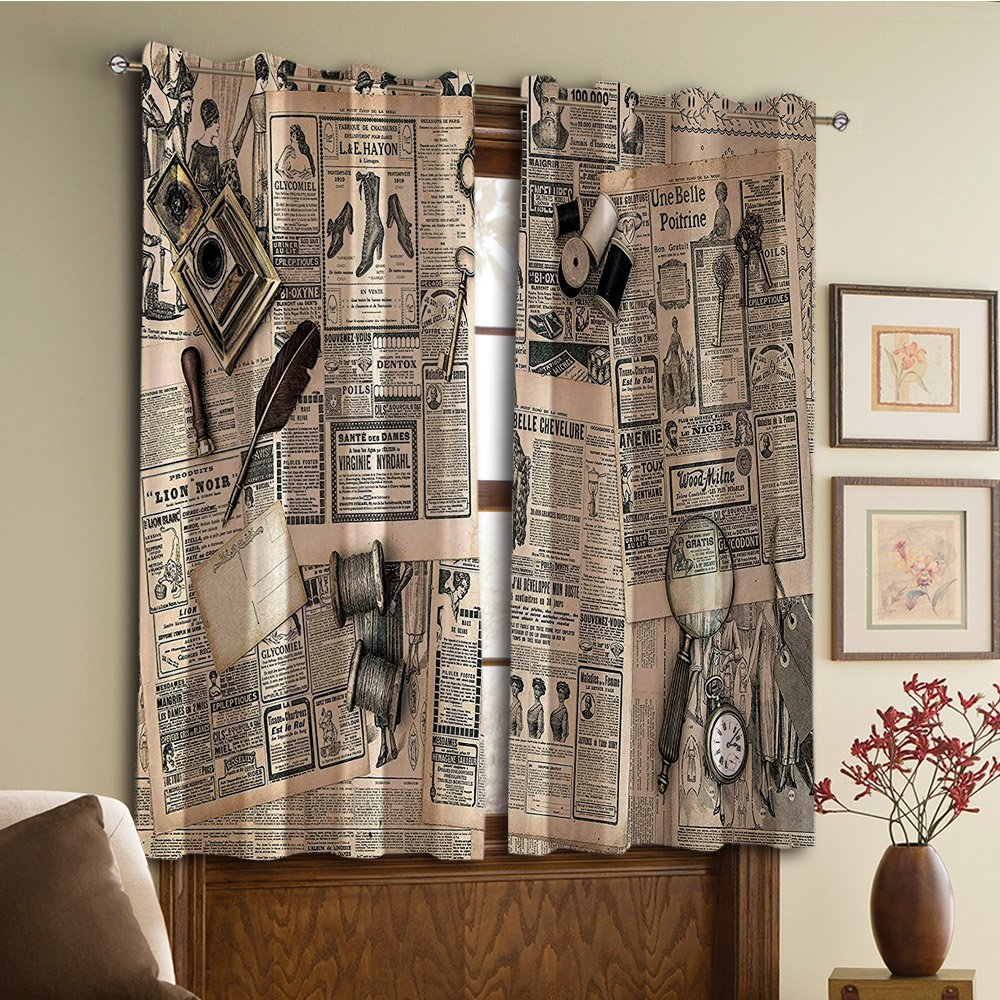 Custom design curtains/Vintage Lace Window Curtain/Grommet Top Blackout Curtains/Thermal Insulated Curtain For Bedroom And Kitchen-Set of 2 Panels(Accessories Design Old Fashion Magazine Sewing and)