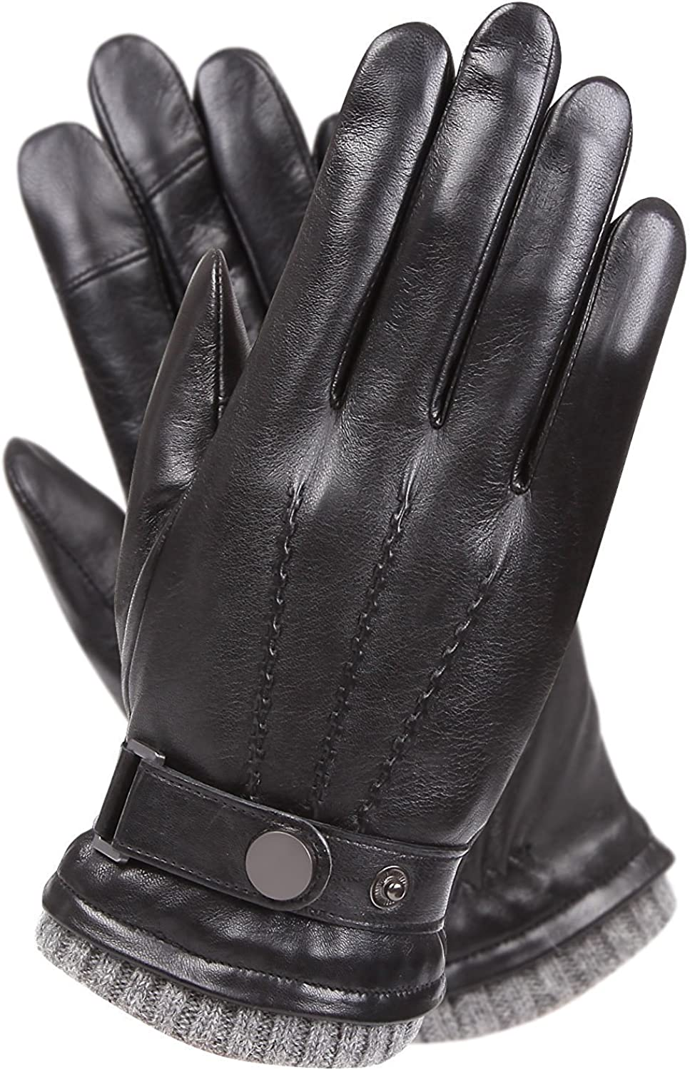 Mens Winter Cold Weather Warm Leather Driving Gloves for Men Wool/Cashmere Blend Cuff