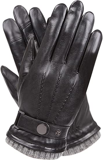 Mens Soft 100/% Sheepskin Real Leather Gloves Polyester Lined Ideal For Driving