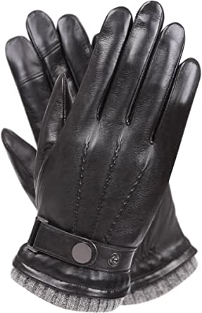 Fashion Anti-Slip Mens Thermal Winter Sports Leather Gloves Mittens S G7S6