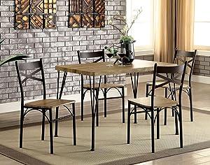 William's Home Furnishing CM3279T-43-5PK Banbury Dining Table Set, Gray & Dark Bronze Finish