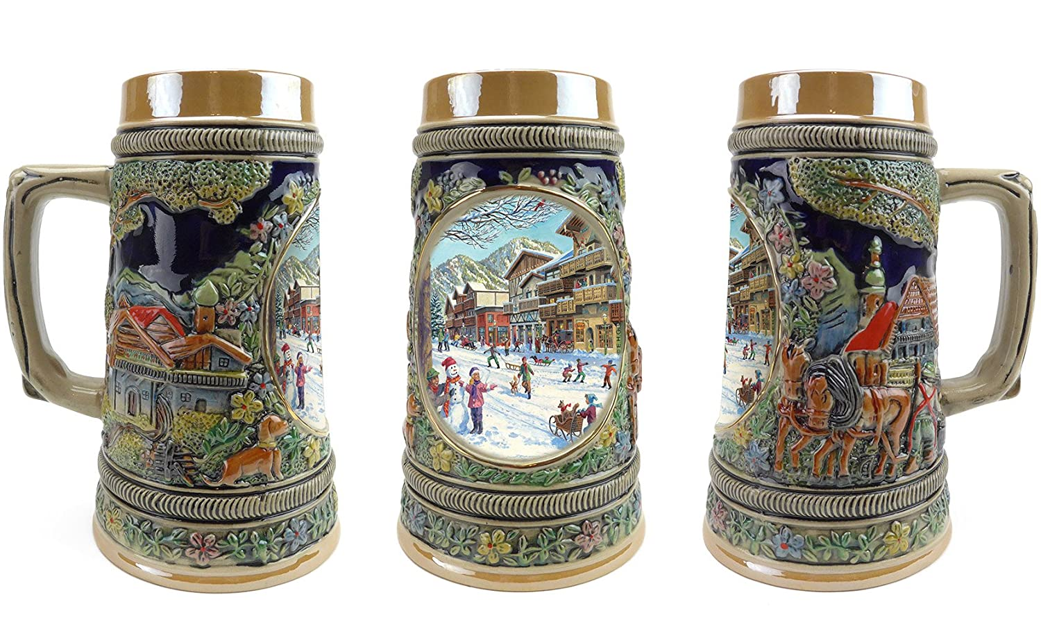 """Winter In Germany"" Essence of Europe Gifts E.H.G. Collectible Ceramic Beer Stein (#1 in Collection of Four Steins) S4636"