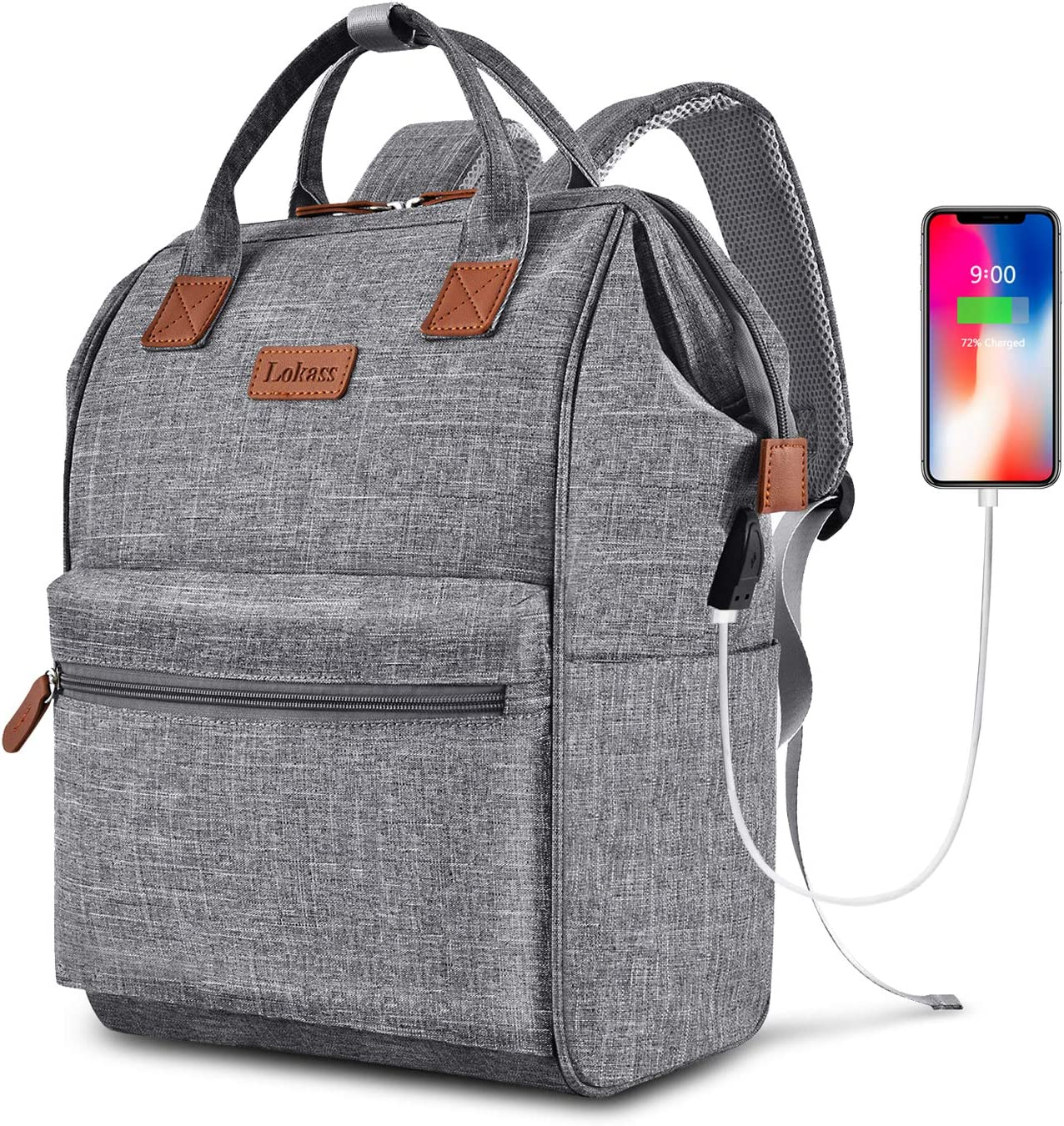 BRINCH Laptop Backpack 15.6 Inch Wide Open Computer Backpack Laptop Bag College Rucksack Water Resistant Business Travel Backpack Multipurpose Casual Daypack with USB Charging Port for Women Men,Gray
