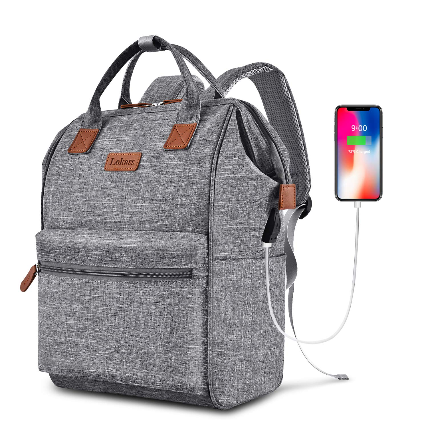 BRINCH Laptop Backpack 15.6 Inch Wide Open Computer Backpack Laptop Bag College Rucksack Water Resistant Business Travel Backpack Multipurpose Casual Daypack with USB Charging Port for Women Men,Gray by BRINCH