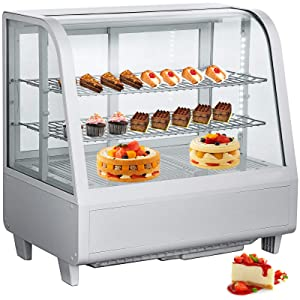 VBENLEM 3.5cu.ft. Commercial Countertop Refrigerator 100L White Bakery Dairy Display Cooler Case with Automatic Defrost LED Lighting Suit for Cake Roaster Shop Cafe Use