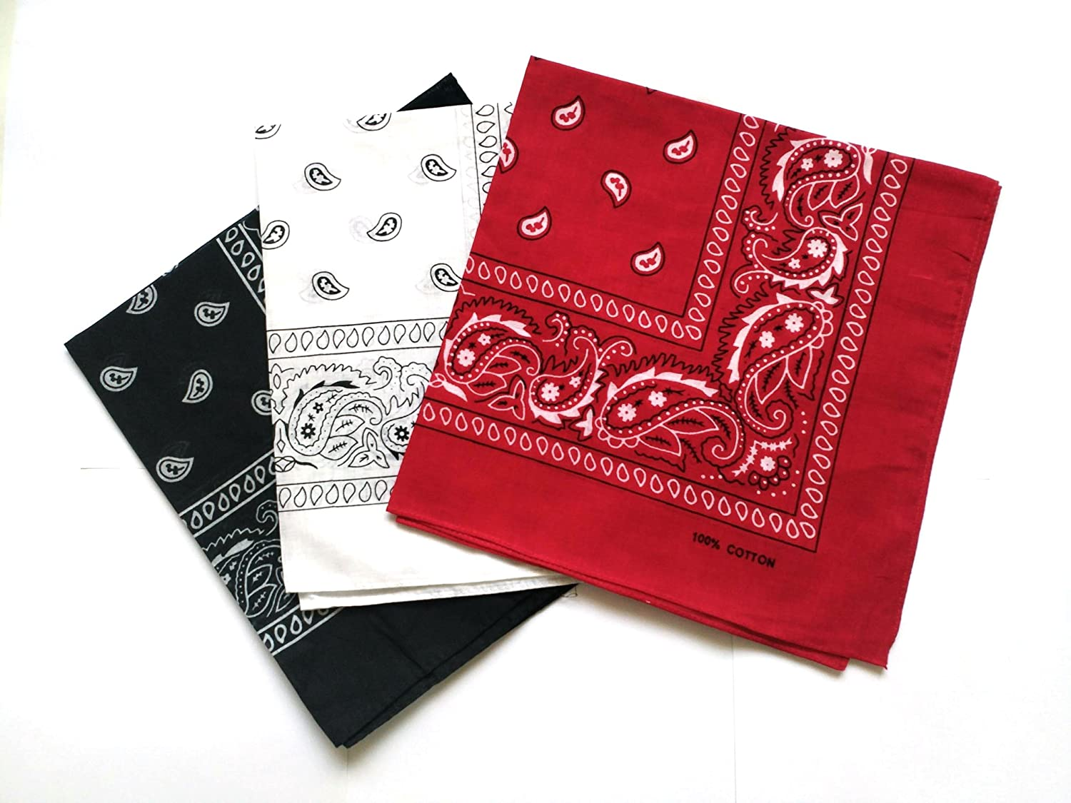 QBSM 6 Pack Cotton Paisley Pattern Bandanas Square Scarf Hair Head Neck Headwear Sold by ChicSelect ban01