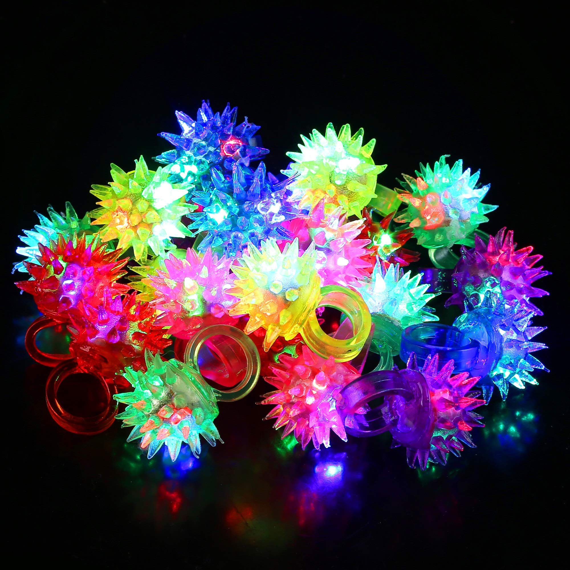 Fun Central 24 Pack - LED Light Up Porcupine Spike Rings Bulk - Blinky Jelly Ring Party Favor for Bar and Parties - Assorted Colors by Fun Central