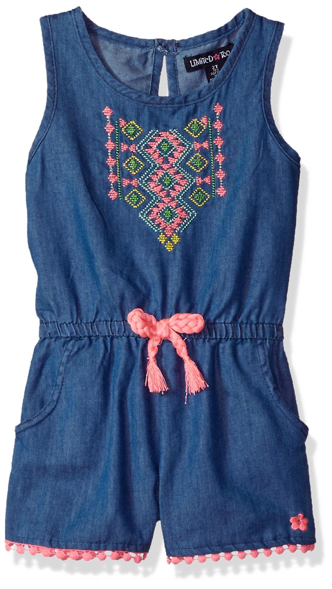 Limited Too Girls' Toddler Romper, Elastic Waist with Tassel tie Medium Blue Denim, 2T