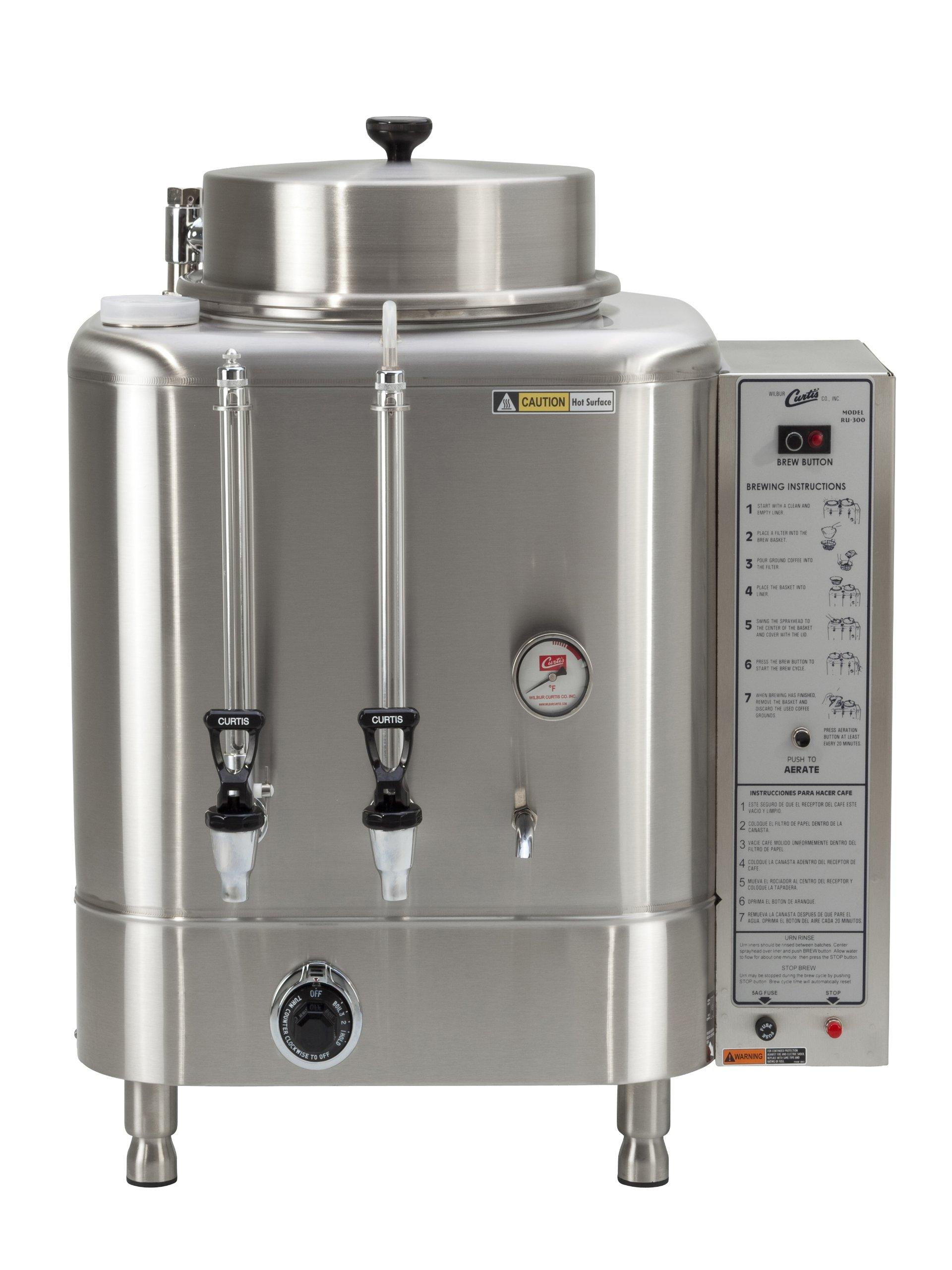 Wilbur Curtis Automatic Coffee Urn 6.0 Gallon Single Coffee Brewer, 1Ph 2W+G Natural Gas 120V 3.0A - Commercial-Grade Automatic Coffee Brewer - RU-225-35 (Each)