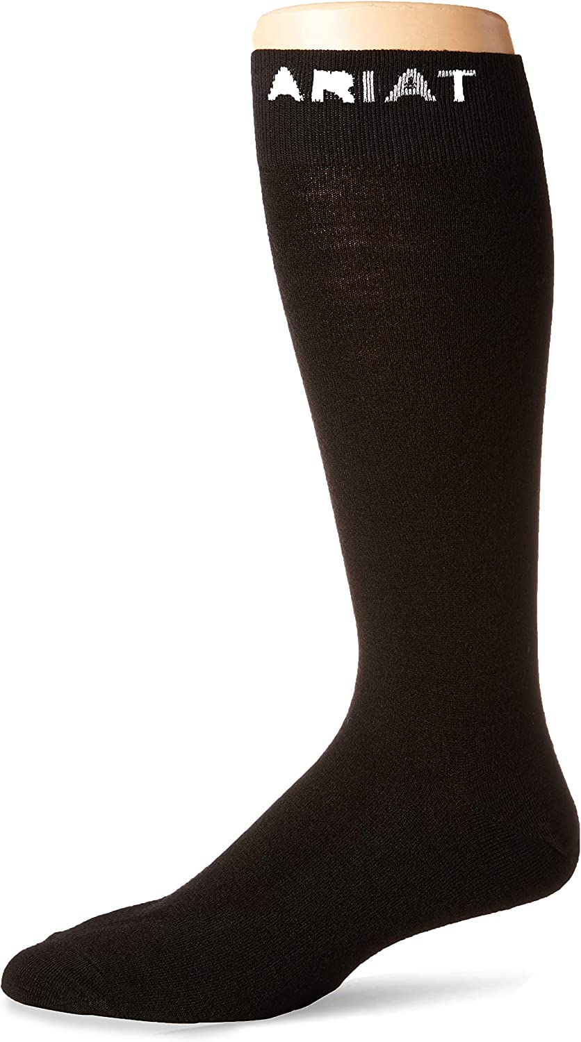 Ariat Men's Thin Boot Single Sock, black