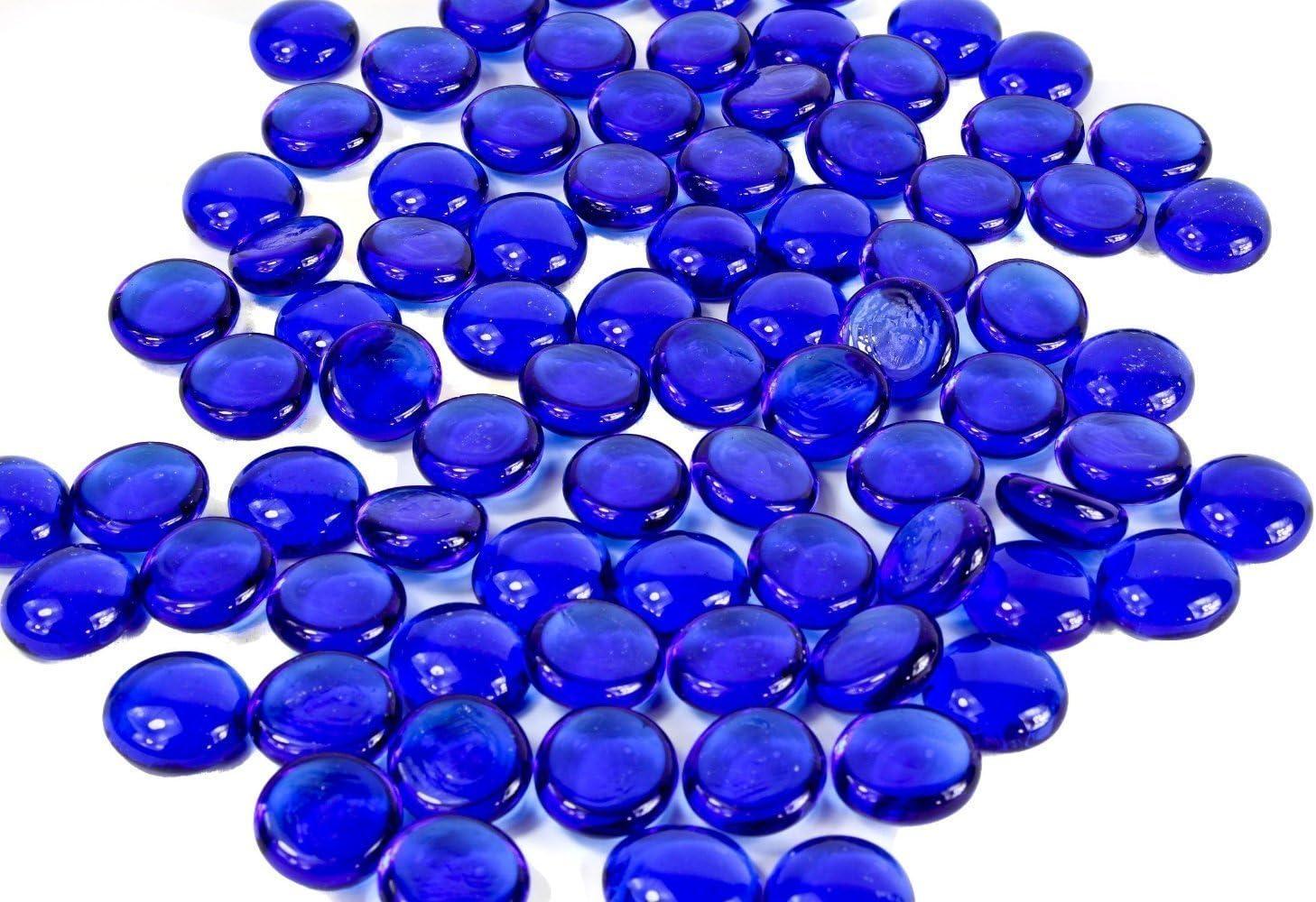 Dashington 5 Pounds-Flat Cobalt Glass Marbles for Vase Filler, Table Scatter, Aquarium Decor