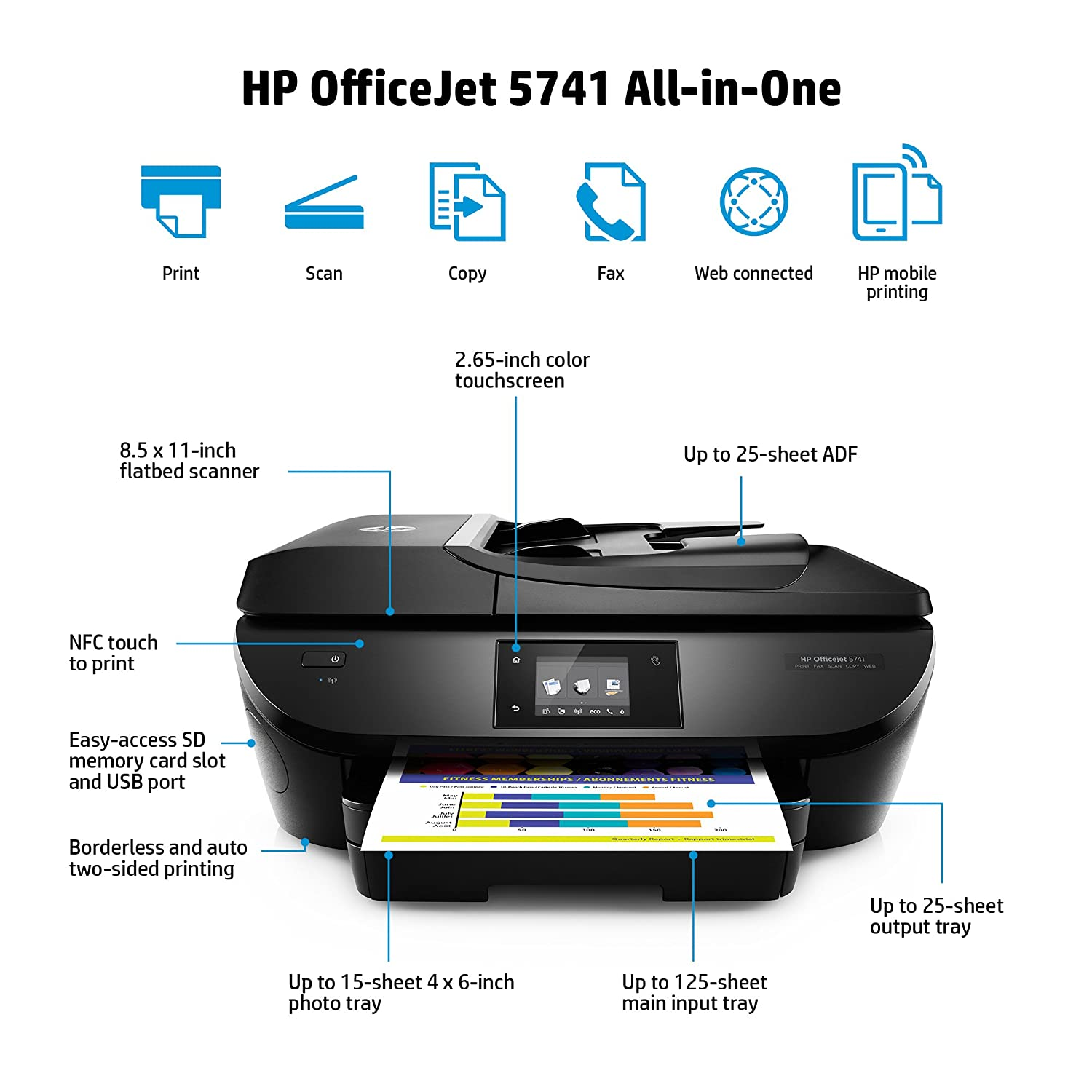 Amazon HP OfficeJet 5741 All In One Wireless Printer With Mobile Printing Includes 1 Year Of Instant Ink B9S83A Electronics