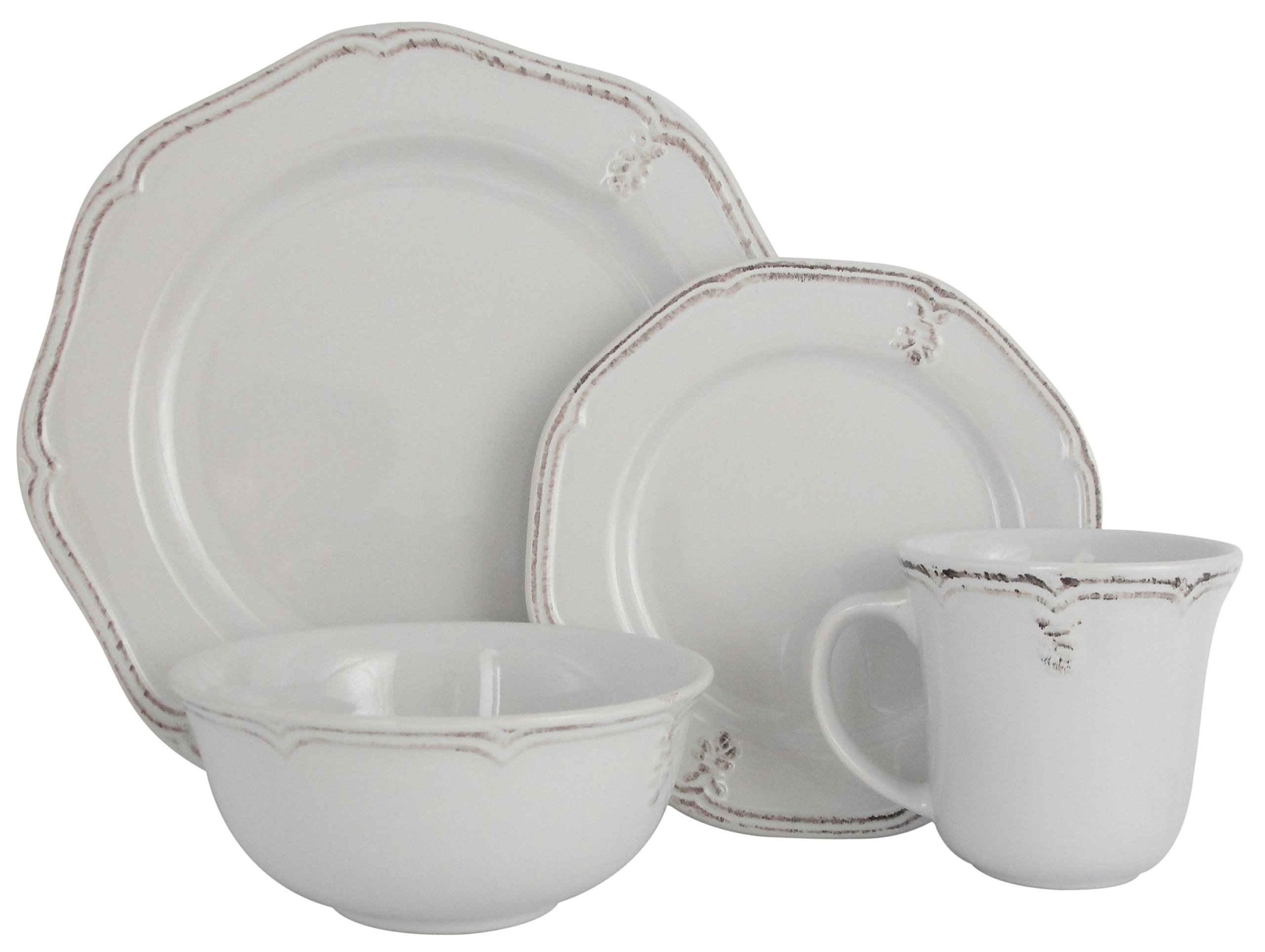 Melange Stoneware 16-Piece Dinnerware Set (Antique White)   Service for 4  Microwave, Dishwasher & Oven Safe   Dinner Plate, Salad Plate, Soup Bowl & Mug (4 Each)