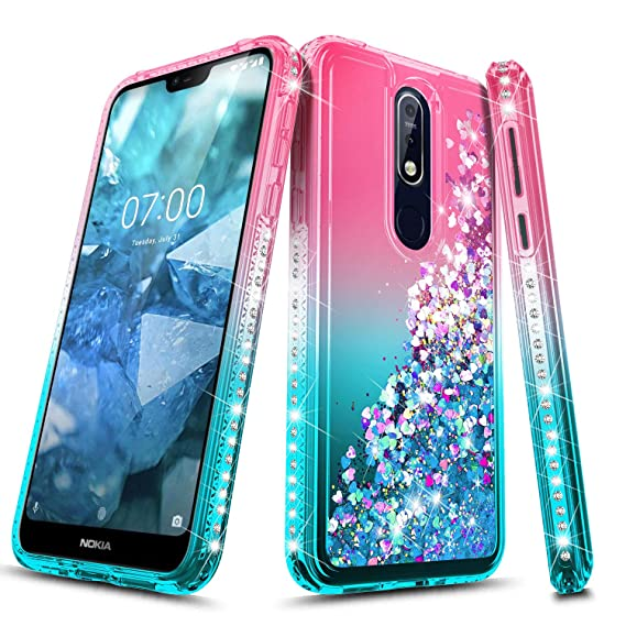 Nokia 7 1 Case, NageBee Glitter Liquid Quicksand Waterfall Floating Flowing  Sparkle Shiny Bling Diamond Shockproof Girls Cute Case for Nokia 7 1