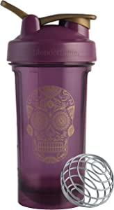 BlenderBottle Sugar Skull Pro Series 24-Ounce Shaker Bottle, Plum