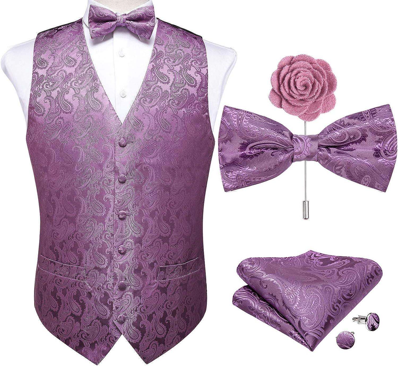 DiBanGu Men's Paisley Waistcoat and Necktie Pocket Square Cufflink Vest Suit Set for Tuxedo
