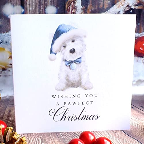 Pack Of 4 Cute Funny Westie Dog Christmas Cards West Highland