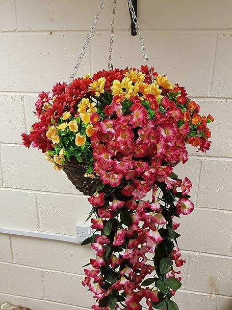 Artificial flowers hanging basket outdoor yellow light and dark artificial flowers hanging basket outdoor yellow light and dark pink xxl mightylinksfo