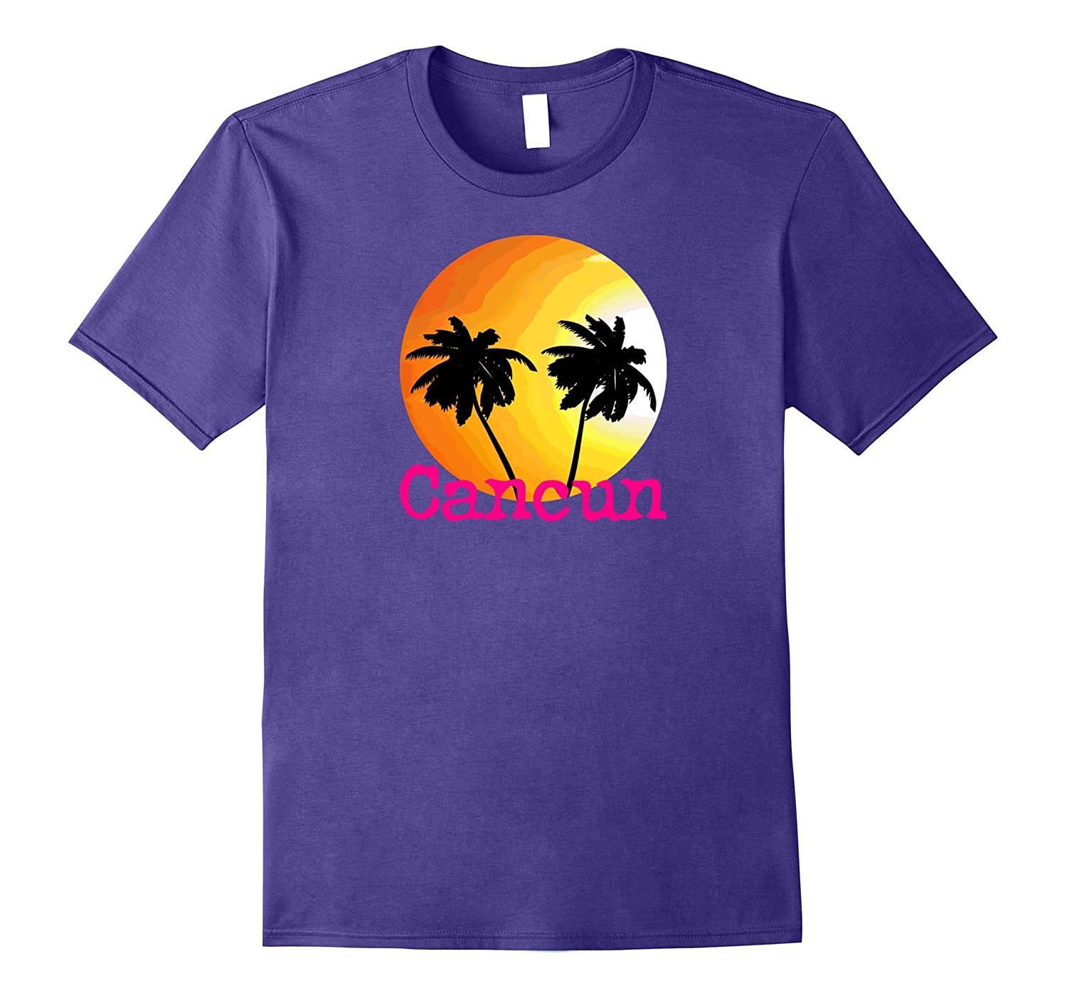 Cancun Sunset Palm Tree T-Shirt Beach Travel Tee Shirt-TH