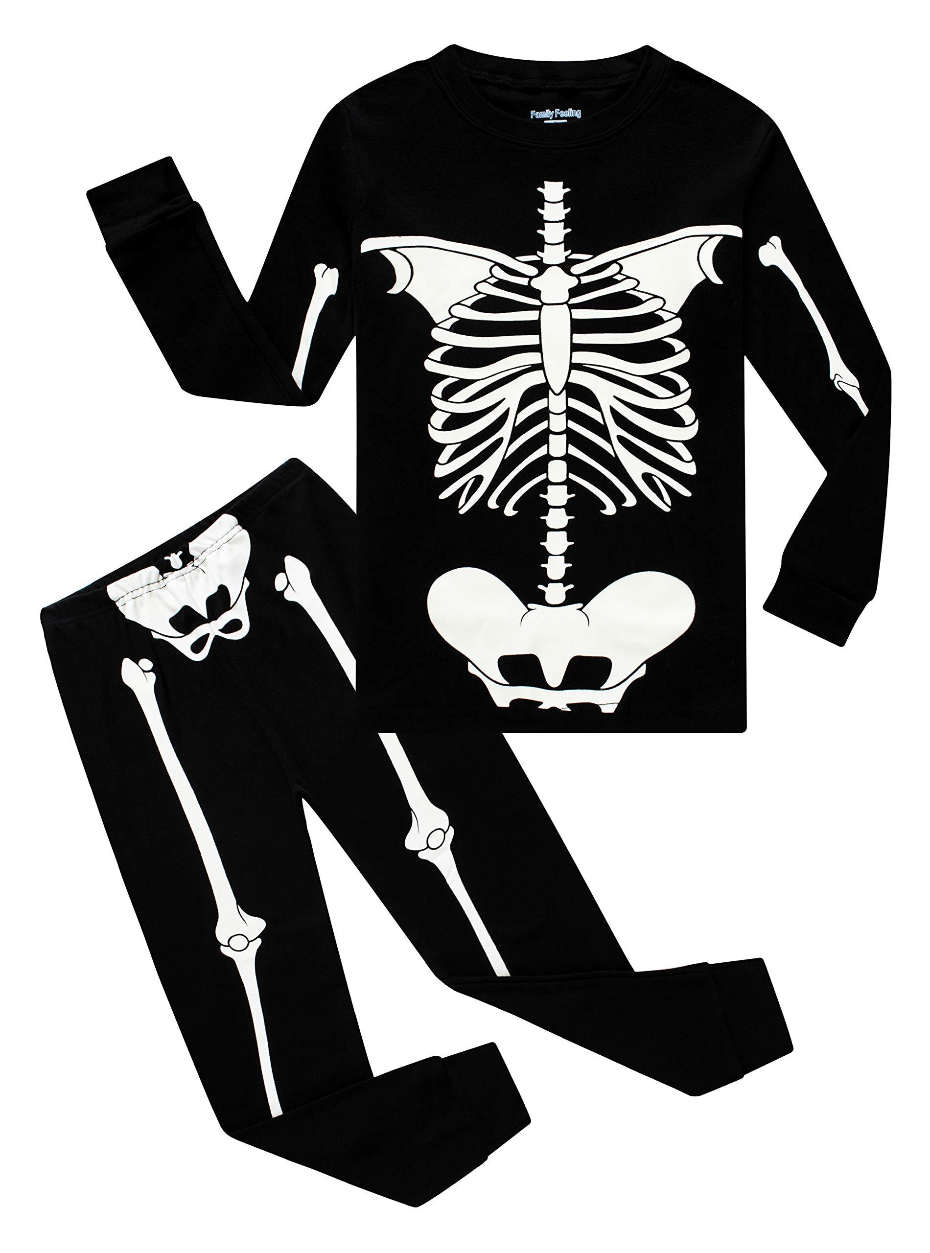 Skeleton Halloween Clothes Pajamas Big Boys Girls Glow in The Dark Skeleton Sleepwear Long Sleeve Kids Pjs Size 14 by Family Feeling