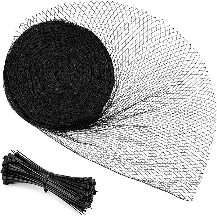 Sunkorto 13x33 FT Bird Netting, Reusable Garden Net Protects Plants and Fruit Trees, Pond Net Garden Protection Against Bird Dear Animal, 0.7-inch Square Mesh
