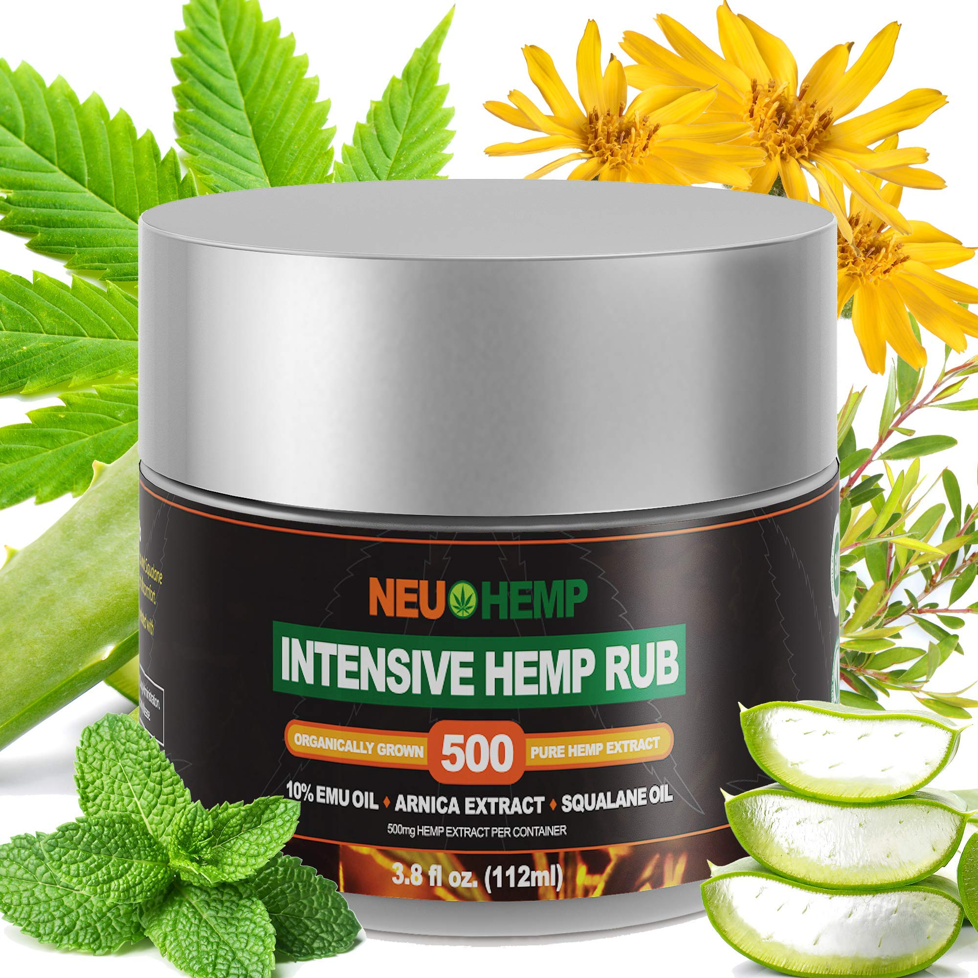 Hemp Cream Relief Rub - 500mg Organic Hemp Oil Extract Topical Soreness Reliever for Arthritis Knee Muscle Relaxer Nerve Plus + Pure EMU Arnica Montana Squalane Daily Lotion Salve Balm Ointment by NeuHemp