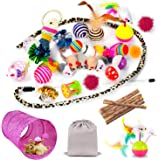 Mibote 30 Pcs Cat Toys Kitten Toys Assorted, Cat Tunnel Catnip Fish Feather Teaser Wand Fish Fluffy Mouse Mice Balls and Bell