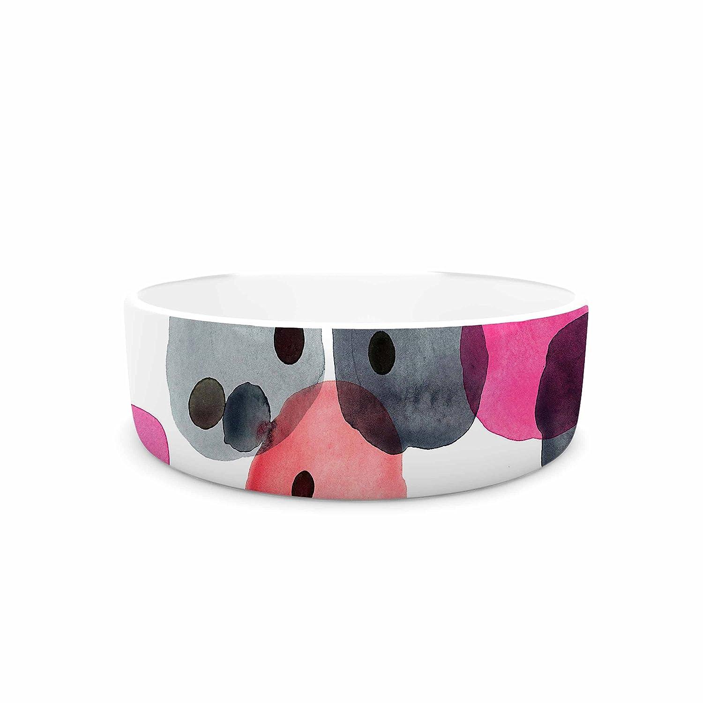 KESS InHouse Crystal Walen Festive Watercolor Dots  Pink Black Pet Bowl, 7