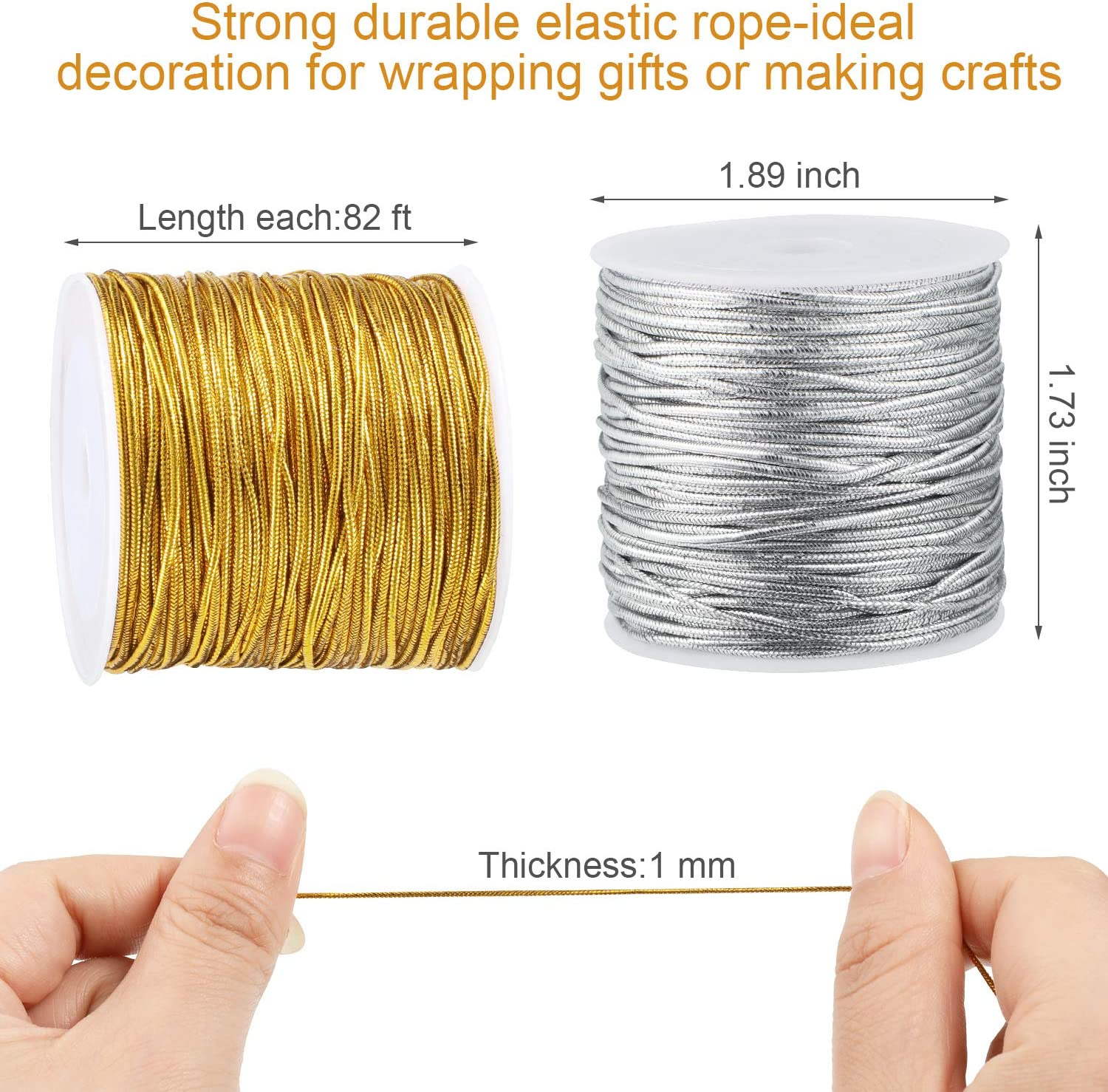 1 mm 55 Yards 2 Rolls Metallic Elastic Cords Stretch Cord Ribbon Metallic Tinsel Cord Rope for Craft Making Gift Wrapping Silver
