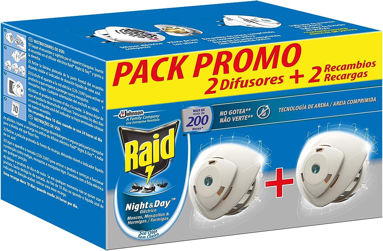 Raid - Night & Day anti mosquitos y hormigas eléctrico sin olor, control de intensidad, 200 noches, 2 difusores + 2 recambios