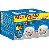 Raid - Night & Day anti mosquitos y hormigas eléctrico sin olor, control de intensidad, 200 horas, 2 difusores + 2…