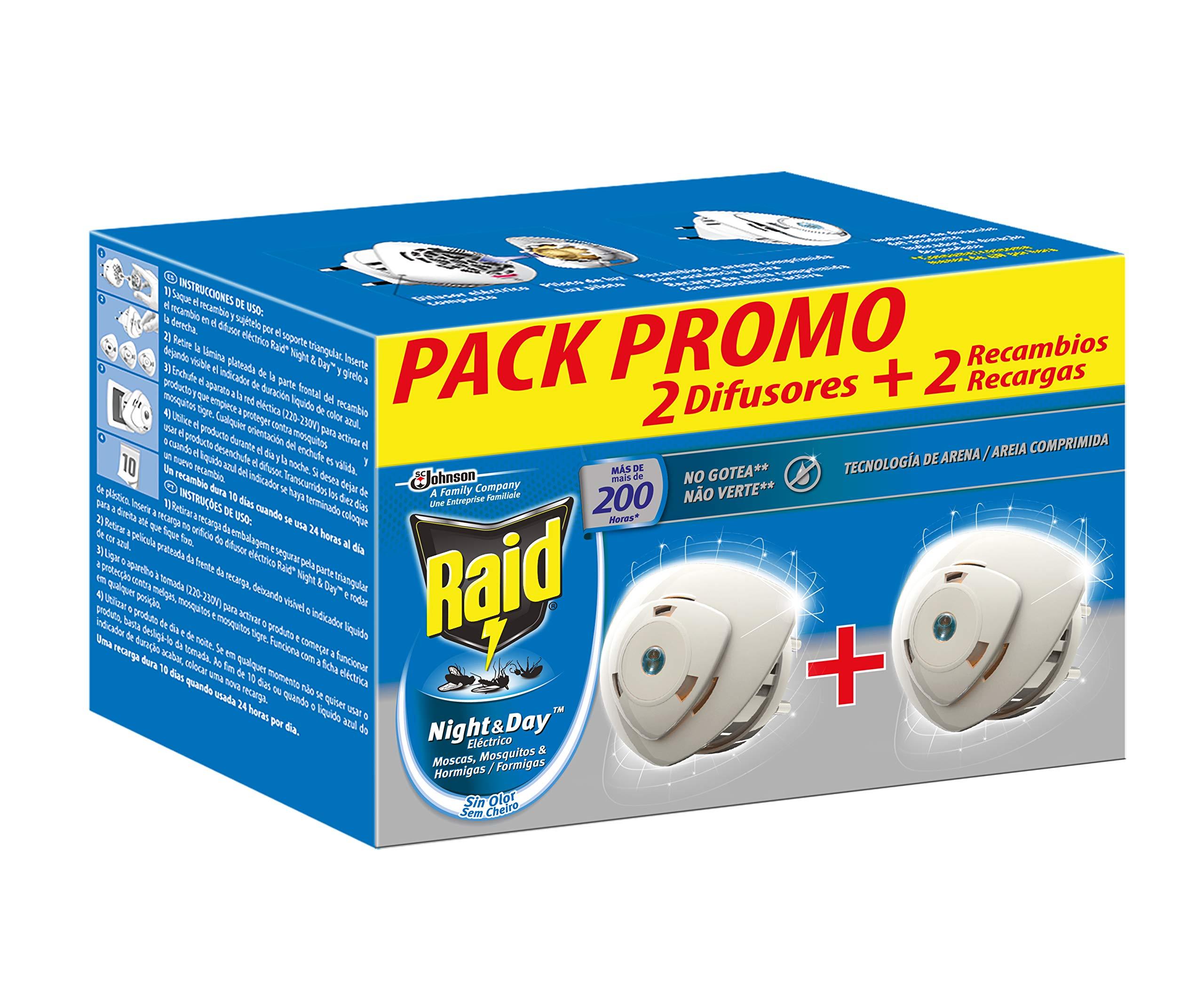 Raid ® Night & Day - Pack 2 Aparato electrico anti moscas, mosquitos común y tigre, y hormigas. Enchufe inoloro con más de 200 horas de protección. Incluye 2 Difusor y 2 Recambio