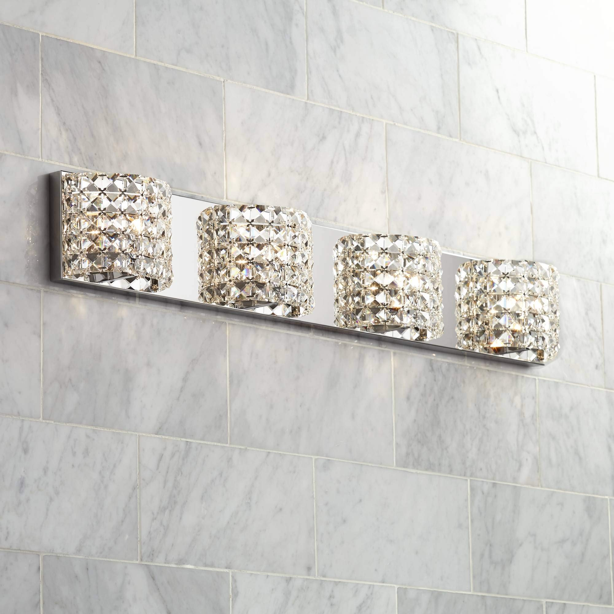 Cesenna 35 1/2'' Wide Crystal 4-Light Bath Light - Vienna Full Spectrum