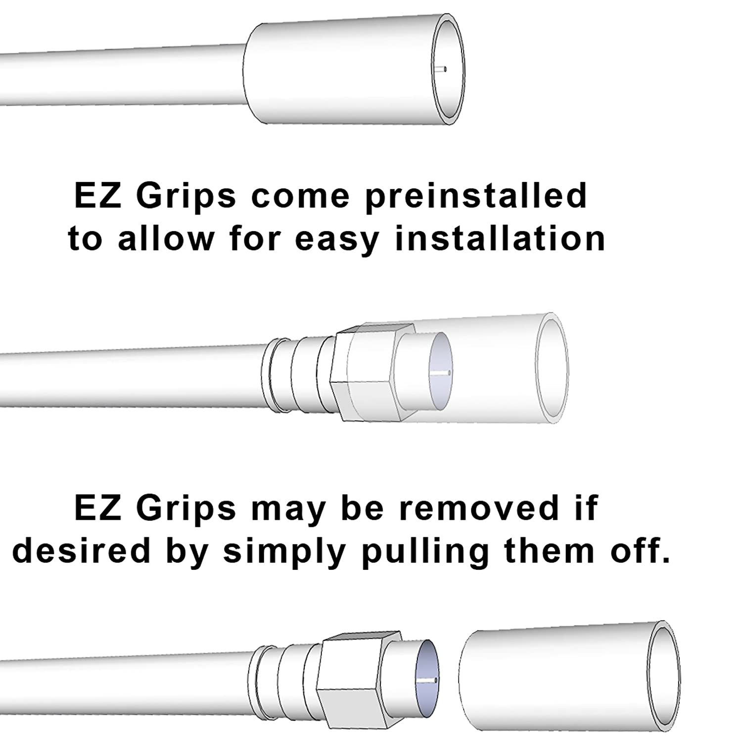 with F-Male Connectors Removable EZ Grip Caps CJ15-6BF-N1 15 Feet Tri-Shield CL2 RG6 Mediabridge Coaxial Cable